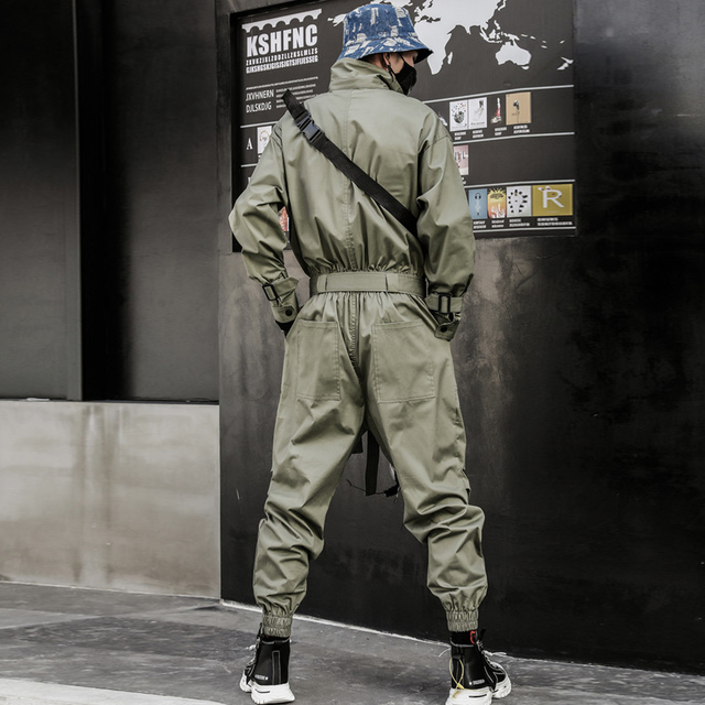 Aelfric Eden 2020 Hip Hop Streetwear Jumpsuits Mannen Lint Geborduurd Cargo Broek Lange Mouw Rompertjes Joggers Techwear Mannen
