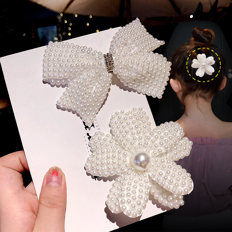 1PC White Pearl Hair Bows With Hair Clips For Girls Kids Layers Bling Rhinestones Center Elegant Bows Hairpins Hair Accessories