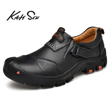 KATESEN 2020 New Spring Men Shoes Lace-up Man Outdoor Casual Shoes Quality Split Leather Loafers Man Flats Shoes Moccasins Shoes