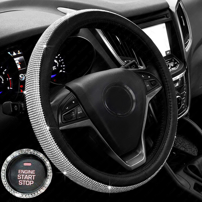 Car-Interior-Set-Accessories Auto-Steering-Wheel-Cover Crystal Rhinestones-Leather Diamond title=