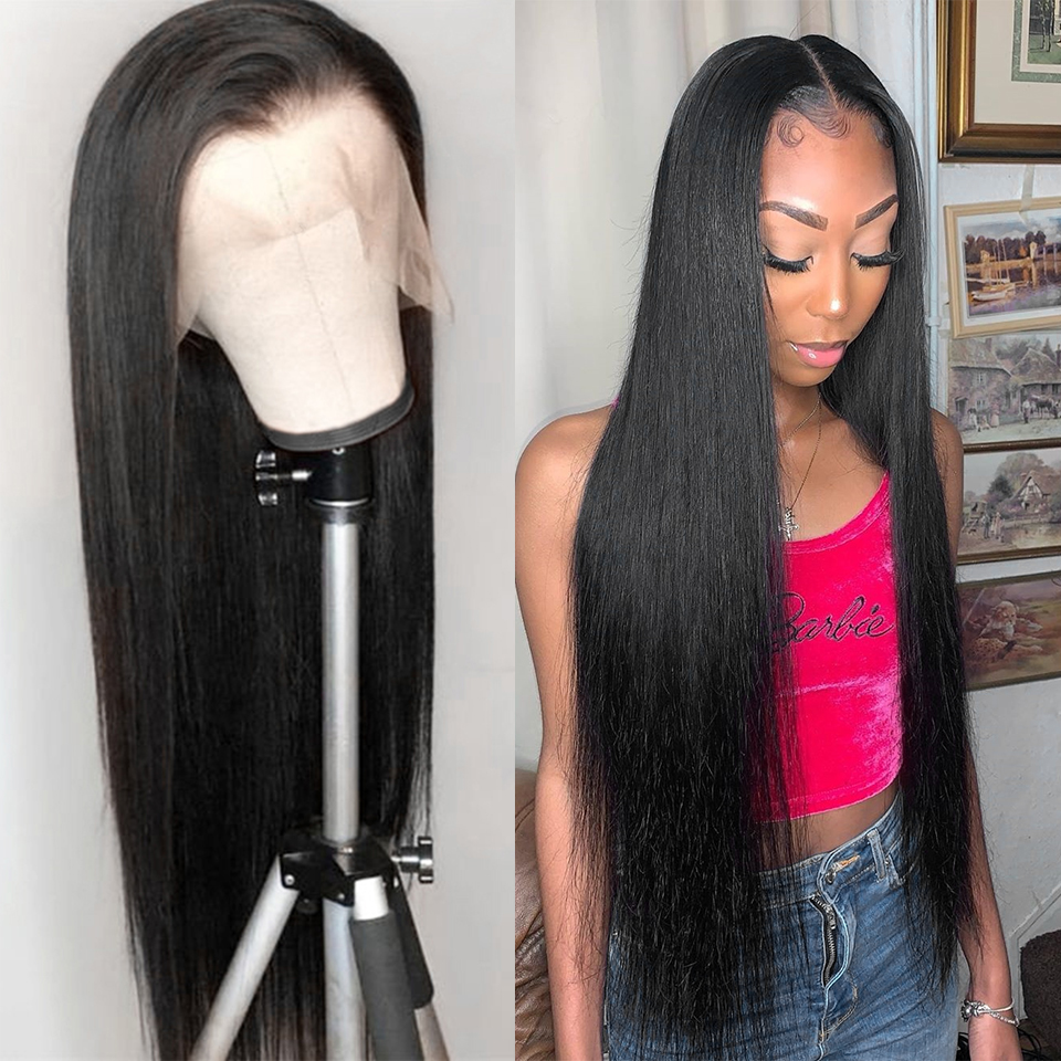 Lace Front Human Hair Wigs Straight Pre Plucked Hairline Baby Hair 8-30Inch 13x6 Brazilian Human Hair 360 Lace Frontal Wigs image