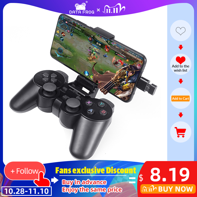 Data Frog Android Wireless Gamepad For Android Phone PC PS3 TV Box Joystick 2 4G Joypad Game Controller For Xiaomi Smart Phone