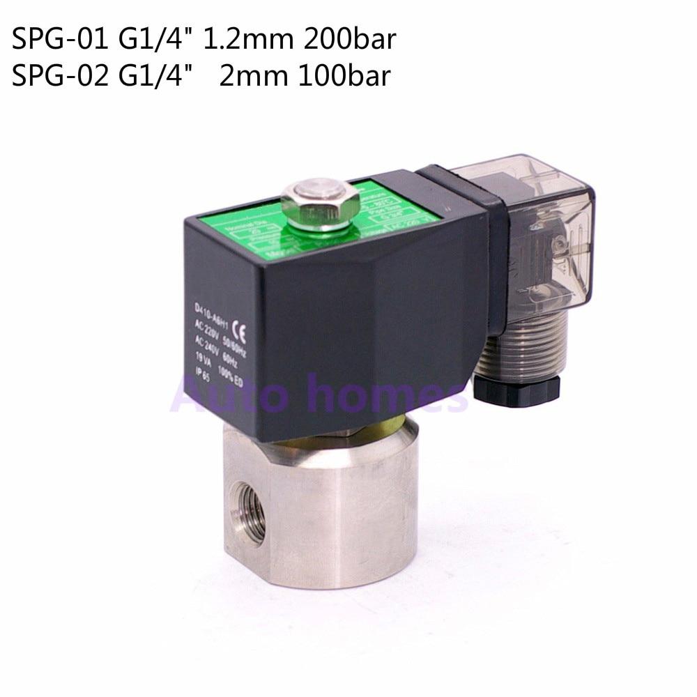 2 way water high pressure solenoid valve 1 4 Orifice 1 2mm 2mm N C car