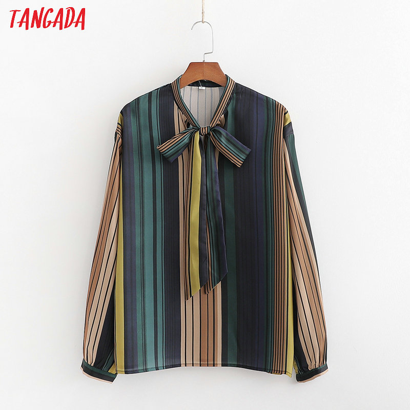Tangada Women Retro Colorful Striped Print Blouse Bow Neck Long Sleeve Chic Female Casual Loose Shirt Blusas Femininas 1D212