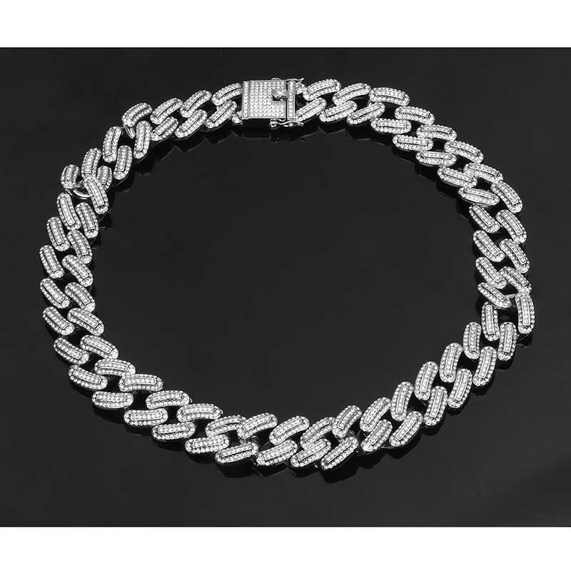 Luksusowe 20mm Iced Out Miami kubański naszyjnik łańcuszkowy dla mężczyzn złoto srebro Hip Hop Iced Out betonowa Bling CZ raper naszyjnik biżuteria