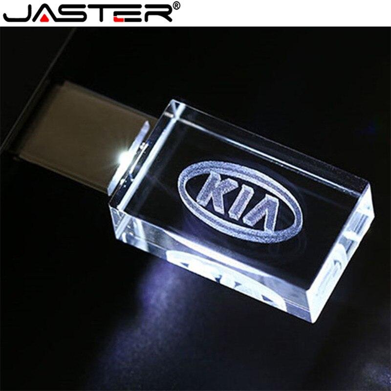 JASTER HOT KIA Kristal + Metalen USB Flash Drive Pendrive 4GB 8GB 16GB 32GB 64GB 128GB Externe Opslag Memory Stick U Disk