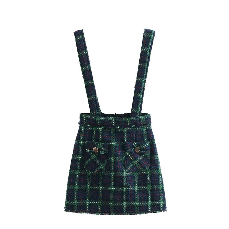 C7037-6193 WOMEN'S Dress New Products Tweed Pinafore Dress