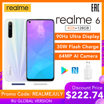 "Realme 6 4GB RAM 128GB ROM Global Version Helio G90T 6.5"" 90Hz Display 30W Flash Charge 4300mAh 64MP Camera NFC Play Store"