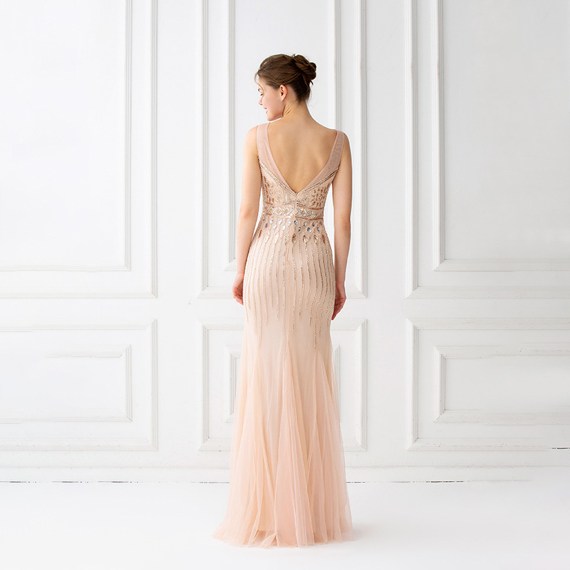Image 4 - Mermaid Evening Dresses Floor Length Tulle Beaded Champagne  Evening Dresses Sleeveless Evening Dresses Long Vestido De FestaEvening  Dresses