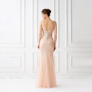 Image 4 - Mermaid suknie wieczorowe długość podłogi tiul zroszony suknie wieczorowe szampana suknie wieczorowe bez rękawów długie Vestido De Festa