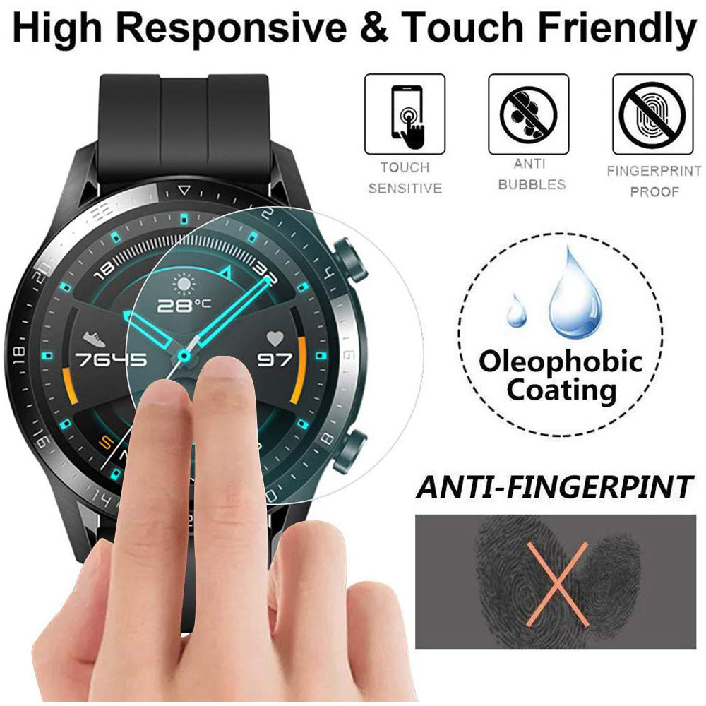 3PC 9H HD Tempered Glass Screen Protector Film For Huawei Watch GT 2 46mm GT2 GT Active Transparent Screen Protection Film