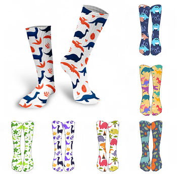 3D Printed Women Long Socks Outdoor Sports Cotton Breathable Elastic Compression High Knee School Students Calf