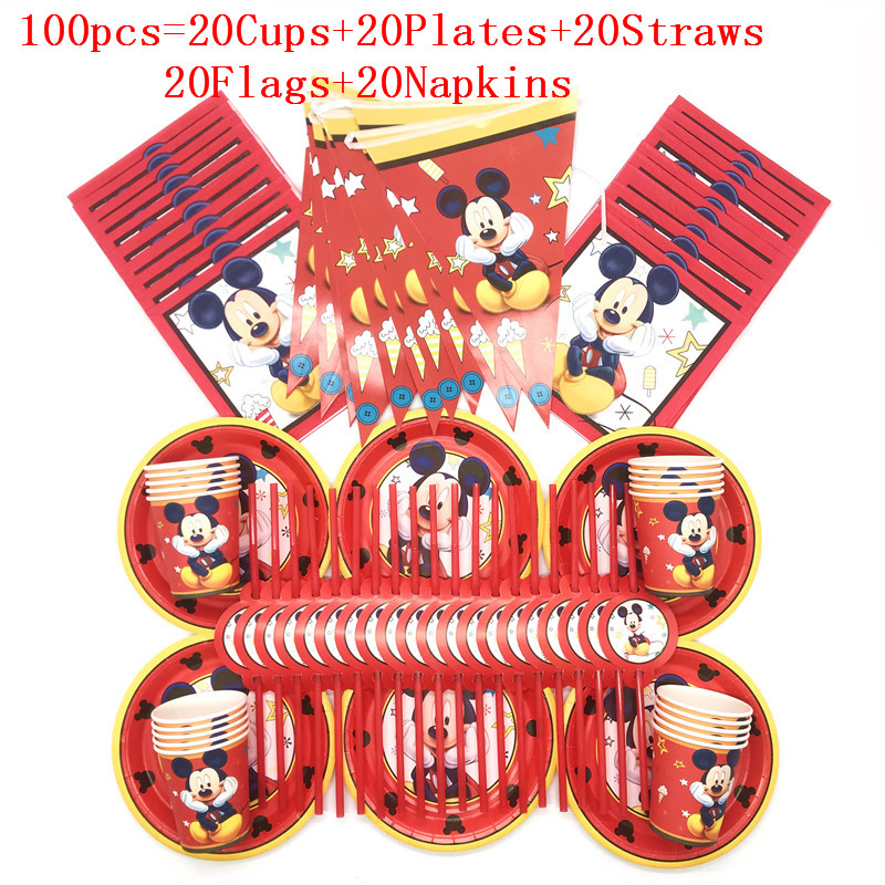 60/90/100PCS Happy Birthday Kids Cartoon Red Mickey Mouse Baby Shower Party Decoration Set Banner Straws Cups Plates Supplies