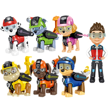 7pk Paw Patrol Action Pack Pups  Figure Dolls Set Mission Toys Ryder Marshal Skye Rubble Rocky Chase Anime Model kids Gift