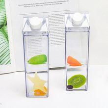 500ml transparente leite garrafa de água drinkware shaker esportes quadrado leite garrafa de suco de água para escalada ao ar livre acampamento viagem