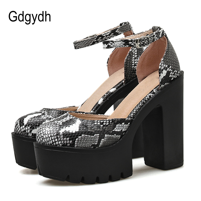 Gdgydh Fashion Snake Print Shoes High Heels Platform Dorsay Pumps Women Buckle Strap Punk Style 2020 New Spring Summer Drop Ship