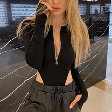 OMSJ 2019 Sexy One Piece Outfits Fashion Long Sleeve Black Body Femme Autumn Clothes Streetwear Zipper Bodycon Rompers Female(China)