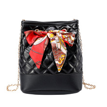 2019 New Chain Handbags Shoulder Messenger Bag Embossed Rhombic Retro Bucket Bucket Bag Clutch Purse Women Bag PU Fashion Soft цена и фото