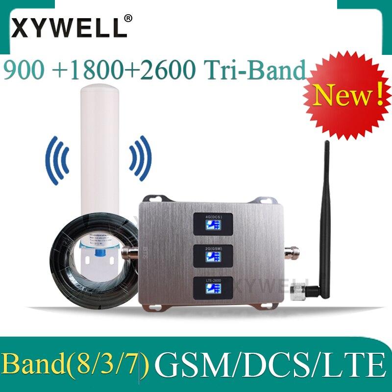 GSM sinyal güçlendirici amplifikatör 4g 900 1800 2600 GSM DCS LTE 2G 3G 4G Tri bantlı cep sinyal tekrarlayıcı GSM mobil sinyal güçlendirici