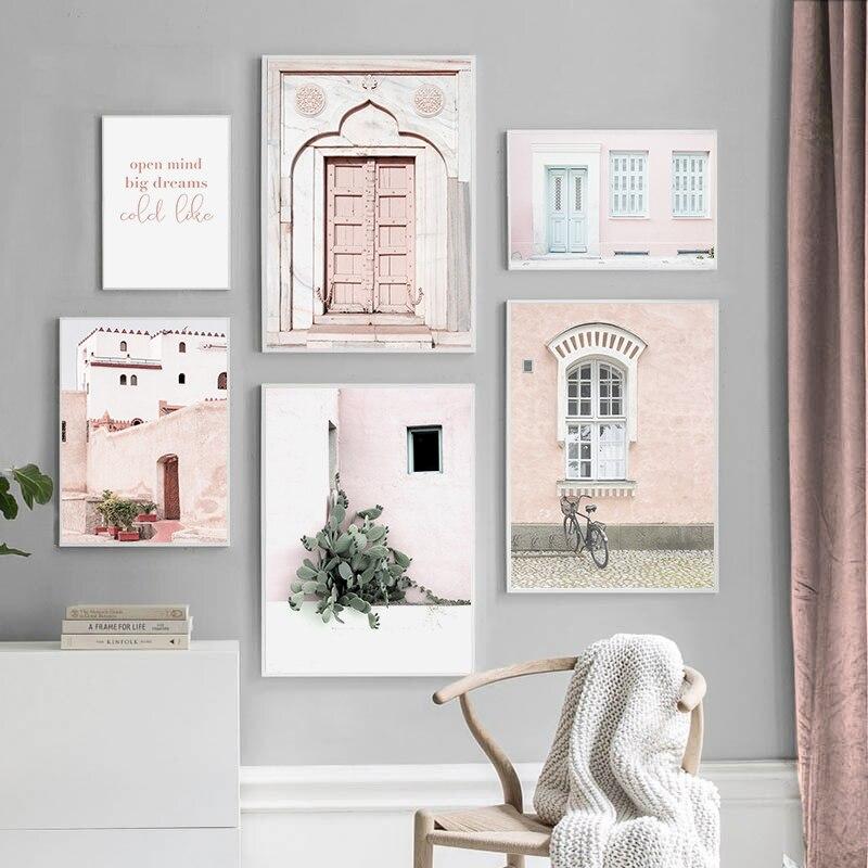 Розовый постер на окна двери, современный пейзаж, холст, картина, скандинавские постеры и принты, настенные художественные картины для гостиной, домашний декор