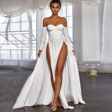 2018 Women Off Shoulder Sexy Dress Elegant Strapless Long Party Club Maxi Dresses Vestidos