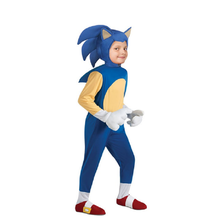 Deluxe Sonic Hedgehog Cosplay Costume Dress Jumpsuits with Headgear schoolbag Rompers for Halloween children' day birthday party