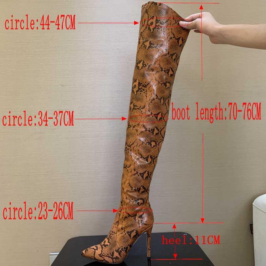 Cuissardes bottes Sexy sur le genou bottes pour femmes chaussures peau de serpent bout pointu 11CM talons hauts fins bottes longues Bottine Femme