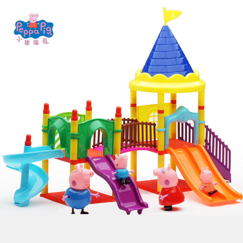 Peppa Pig George Pink Pig Family Friends Toys Doll Real Scene Model Amusement Park House PVC Action Figures Birthday Gifts Kids