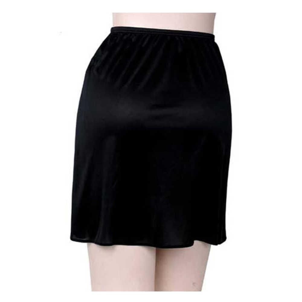 النساء ارتداء الداخلية تنورة 1 طبقة مرونة الخصر ثوب نسائي قصير تمتد الساتان قصيرة نصف زلة ثوب نسائي الملابس الداخلية اكسسوارات الساخن