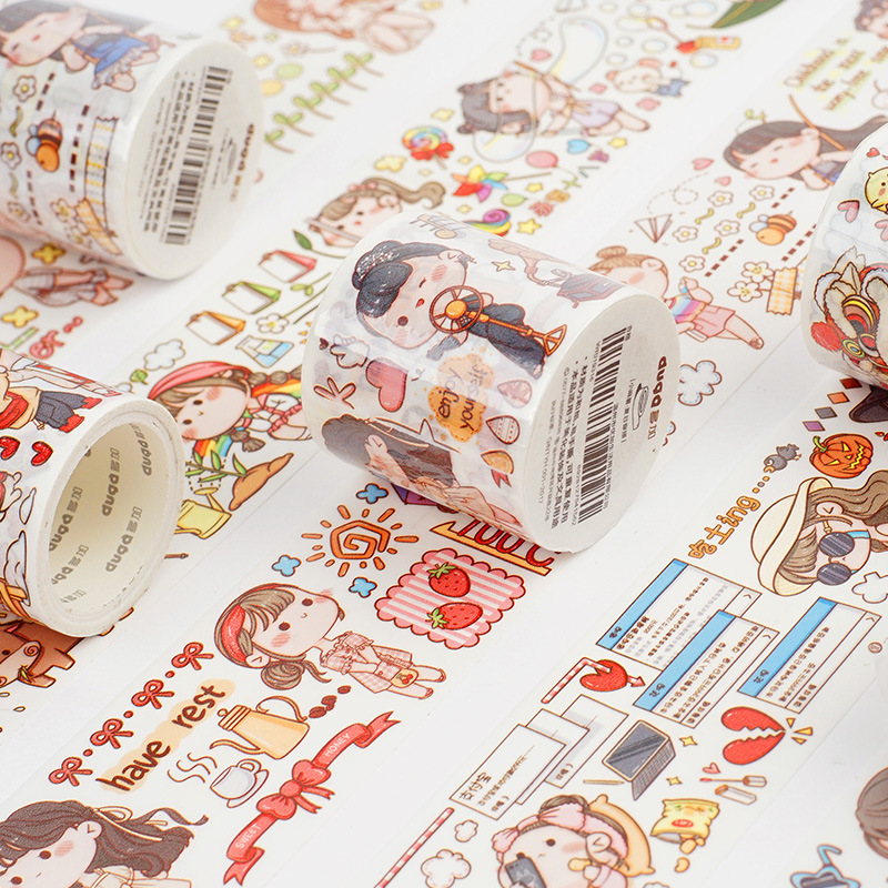 Mohamm 1Pcs Kawaii Washi Tape Decorative Creative Cartoon Stickers Scrapbooking Stationery School Supplies