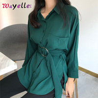 Women Long Blouse and Shirt 2019 Autumn Casual Buttons Elegant Ladies Blouse Lace up Fitted Waist Retro Tops Shirt For Women