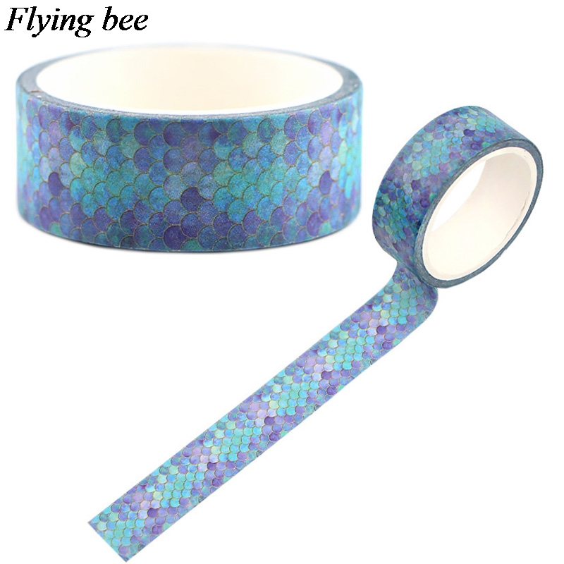 Flyingbee 15mmX5m Paper Washi Tape Blue Fish Scales Adhesive Tape DIY Scrapbooking Sticker Cool Label Masking Tape X0553