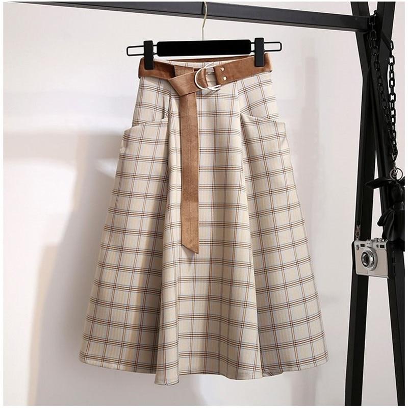 Plaid Vintage Warm Thick Winter High Waist Women Skirts Female Autumn Plus Size A-line Long Girls Skirt 2019 Brown Elegant Skirt