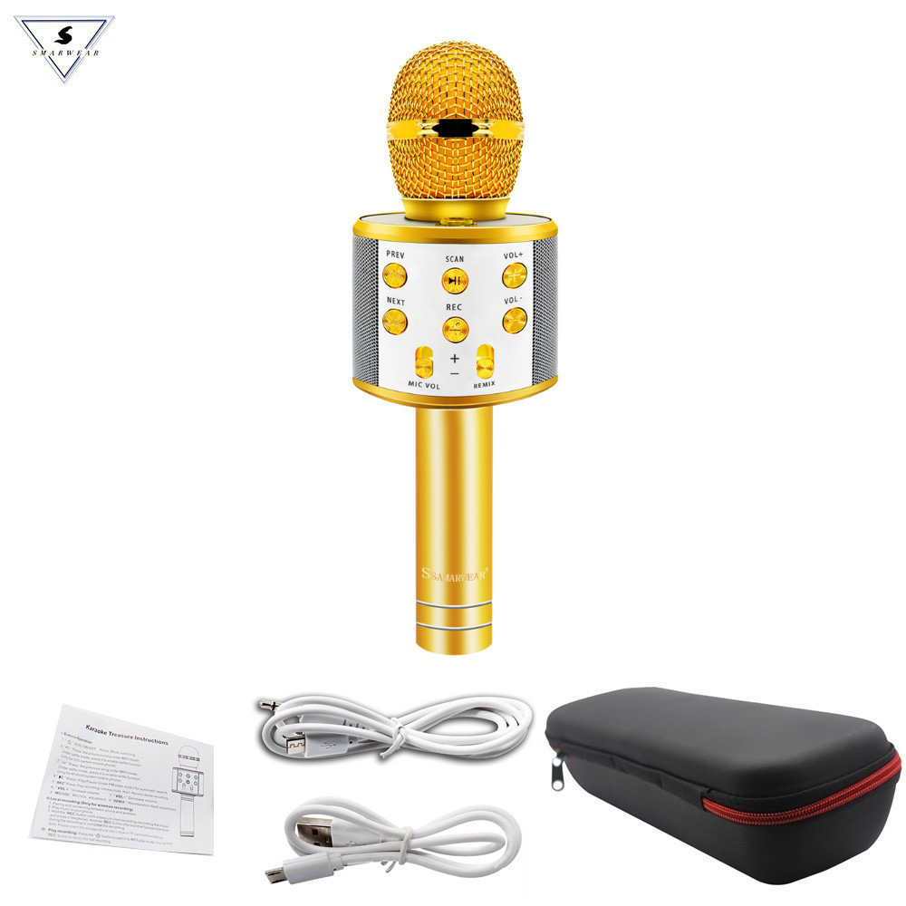 WS858 Professional Wireless Karaoke Microphone Speaker Condenser Microfono With Bag Bluetooth Radio Studio Record Mic PK WS-858