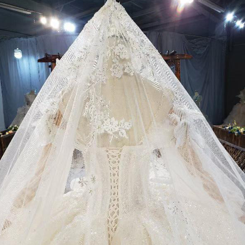 HTL1822 Sequined Beading Wedding Dress 2020 High Neck Long Puff Sleeve Tulled Lace Up Back Applique Ball Gowns 6