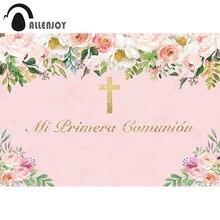 Allenjoy Mijn Eerste Heilige Communie Fotografie Achtergrond Golden Cross Elegante Bloem Verjaardag Meisje Achtergrond Photophone Photocall
