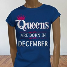 Queens Lahir Desember Crown Sagitarius Capricorn Wanita T-shirt Biru(China)