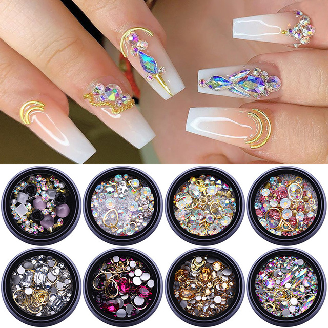 1Pc3D Nail Rhinestones Stones Mixed Colorful DIY Design Decals with Nail Curved Tweezer