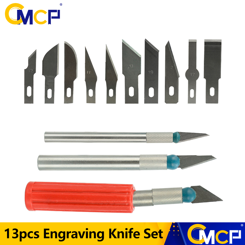 CMCP 13pcs Engraving Knife Set 3 Knives with 10 Blade Replacement Carving Tool Scalpel Knife Paper Cut PCB Repair Phone Repair