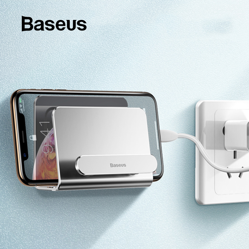 Baseus Wall Holder For Phone Power Bank Mount Holder Adhesive Charging Socket For IPhone Samsung Holder Stand Phone Socket