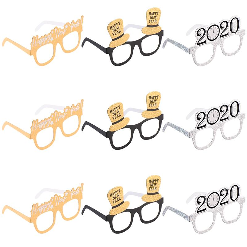 Amosfun 9PCS New Year Glasses Novelty Funny Props For Cosplay Christmas New Year 2020 Carnival