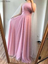 Новинка 2020 вечернее платье с бисером розовое запахом ТРАПЕЦИЕВИДНОЕ