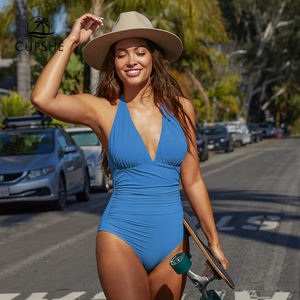 Image 3 - Cupshe Solid Blue Shirring One piece Swimsuit Women Sexy Halter V neck Plain Monokini 2020 Summer Female Beach New Swimwear