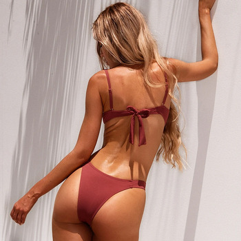 Ribbed Bikini Set with Push-up Padded Top 2