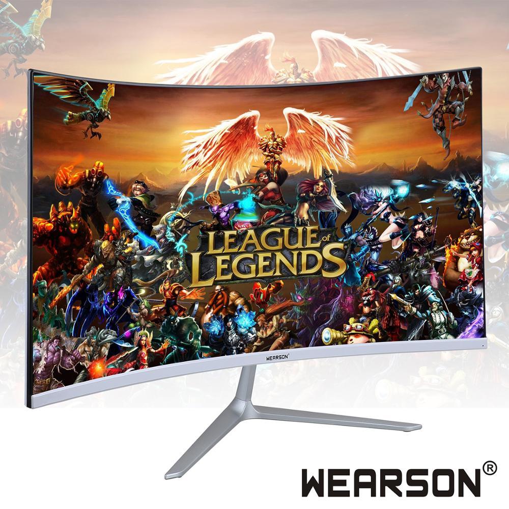 Wearson 23.8 pouces Ultra mince flexion 7mm incurvé écran large LCD moniteur de jeu HDMI VGA entrée 2ms réponse WS238H