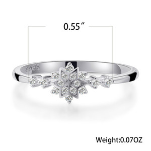 Luxury Female Flower Snowflake Ring 100% Real 925 Sterling Silver Wedding Band Ring Promise Love Engagement Rings For Women