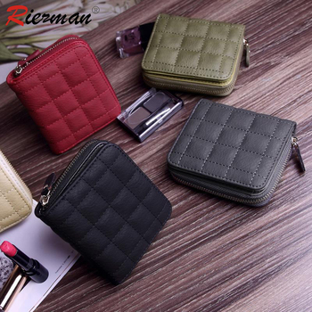 RIEZMAN Women Short Mini Small Wallets PU Leather Female Plaid Purses Card Holder Wallet Fashion Cute Zipper Wallet Coin Purse genuine leather women wallet fashion cute women s wallet small zipper coin wallet female short leather women purse card wallet