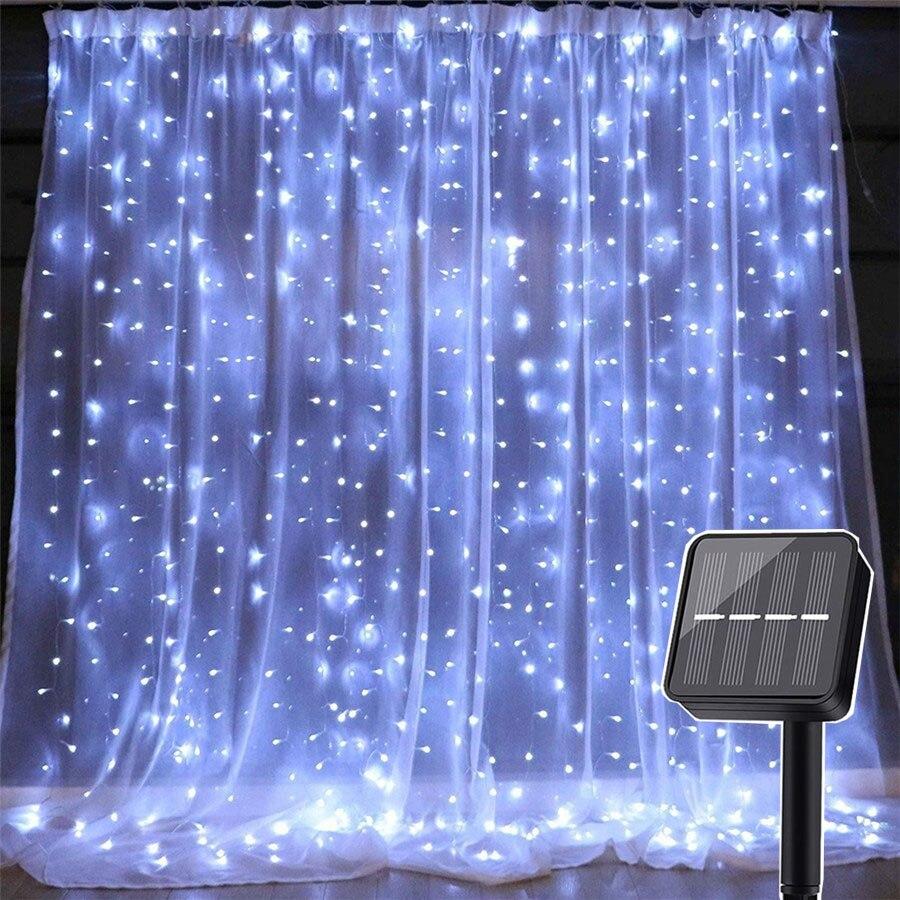 Thrisdar 3X3M 300 LED Solar Powered Icicle Curtain LED String Light 8 Modes Wedding Party Christmas Solar String Garland Light