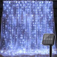 Thrisdar 3X3M 300 LED solaire alimenté glaçon rideau LED chaîne lumière 8 Modes fête de mariage noël solaire guirlande lumineuse