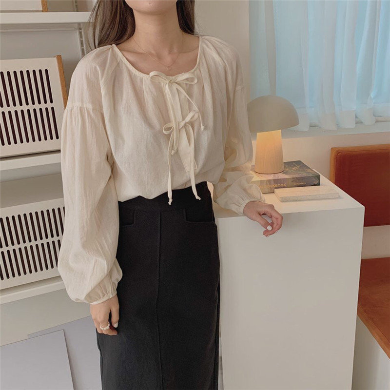 Alien Kitty Beige Streetwear Loose Puff Sleeves Bow Lace Up 2020 High Waist Sweet Casual Female All-Match All Match Chic Shirts